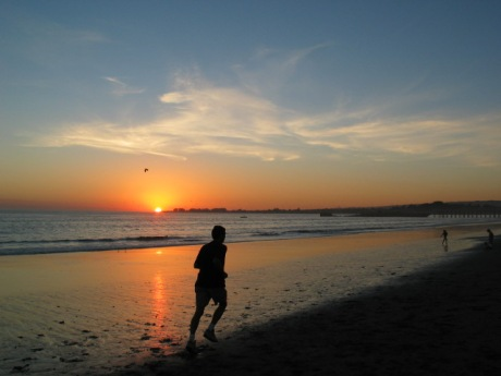 Running on Rio Del Mar beach California.
