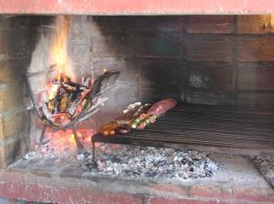 Cooking over an open fire while traveling