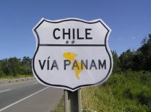 Panam highway sign chile, driving in chile, driving in south america